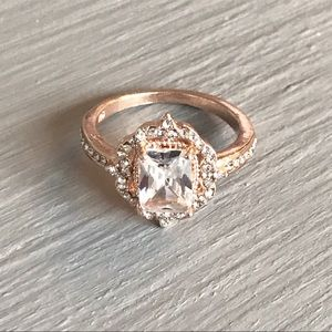 Jewelry - Rose Gold Filled Emerald Cut White Sapphire Ring
